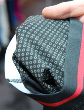 The Bellwether Forza bibs have polymers (the circles) that react with moisture to lower surface temperature