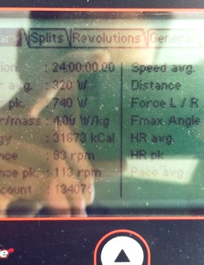 It's a little hard to see, but the read-out from the Wattbike says; 31,673kcal burned, 1,054km ridden, with an average power of 320 watts, over 24 hours