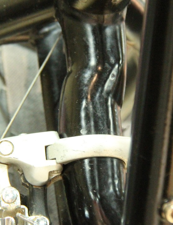 The front derailleur mount was offset to account for the wider bottom bracket and to clear the rear tire