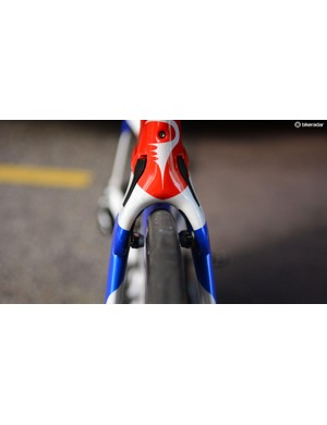 The front end of Bradley Wiggins' custom painted national champions Pinarello Bolide