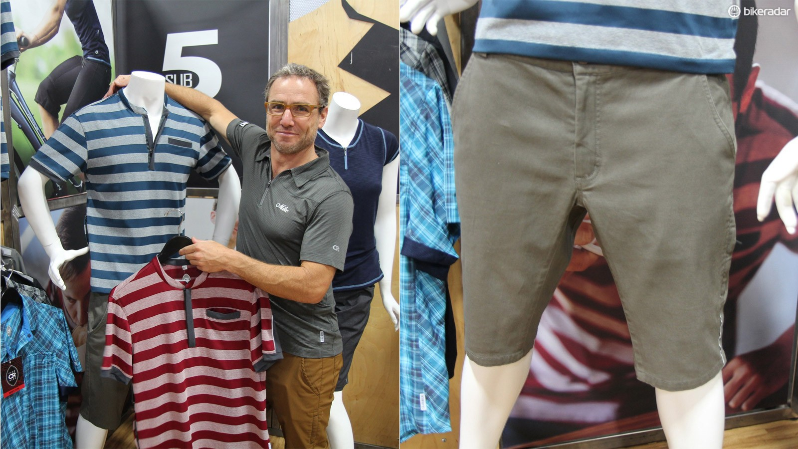 Club Ride founder Mike Herlinger shows off the Buxton poly-cotton shirts and Phantom Short