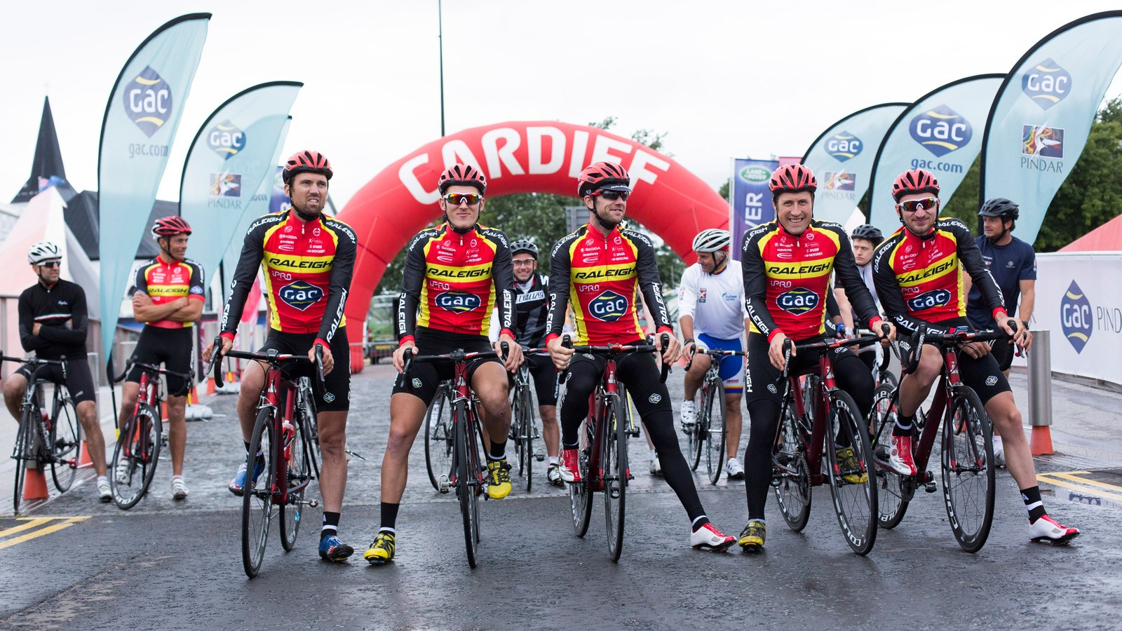 Team Raleigh on the start line of the first ever Cyclosail Cardiff with GAC Pindar