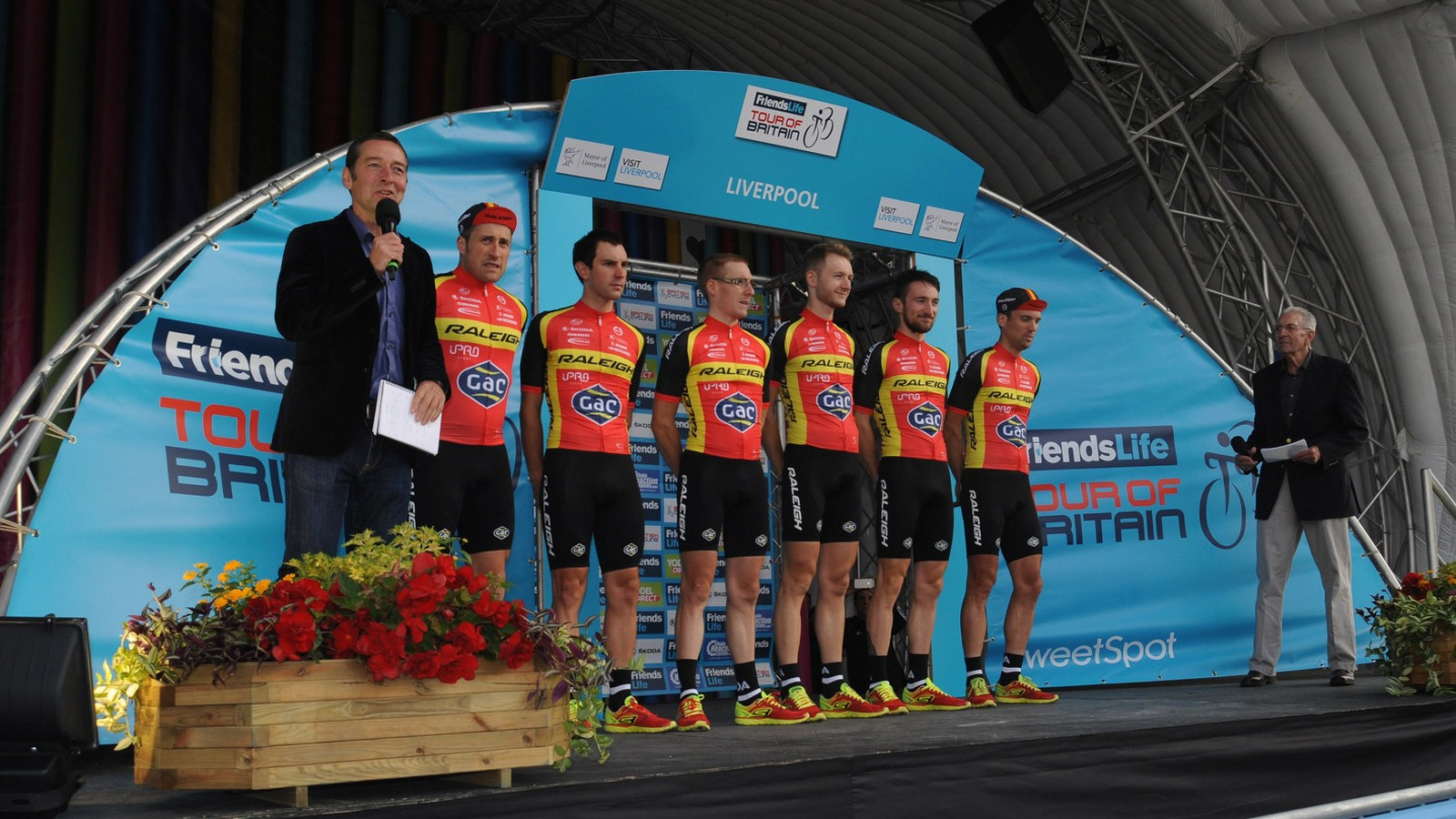 Team Raleigh on the podium being introduced