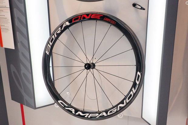 Campagnolo's latest Bora carbon road wheels are offered in both 35mm and 50mm depths, both with specially machined sidewalls that leave bare carbon fibers for supposedly better braking