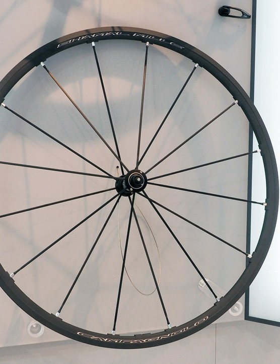 The new Campagnolo Shamal Mille carries over the same rim profile and hubs as before but gains a new Keronite surface treatment that is said to greatly improve braking performance - and sidewall durability
