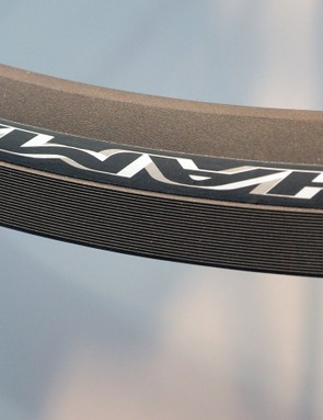 The textured sidewalls effectively increase the amount of surface contact between the rim and brake pad. Campagnolo says the new Keronite surface treatment works best with carbon-specific pads