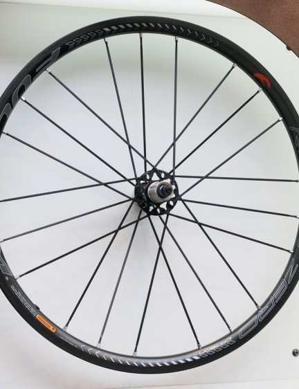 Campagnolo sister company, Fulcrum, showed off the new Racing Zero Carbon clinchers, which use a 30mm depth, 17mm internal width (clincher only), and bladed aluminum spokes arranged in a 2-to-1 pattern (rear only). Claimed weight for the clincher set is 1,358g; the tubulars weigh 1,268g