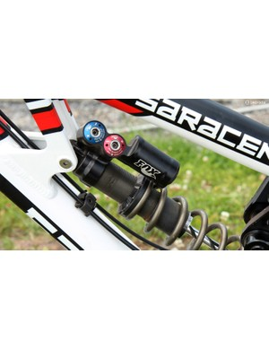 The prototype Fox RAD rear shock features fully independent high- and low-speed compression and rebound damping adjustments