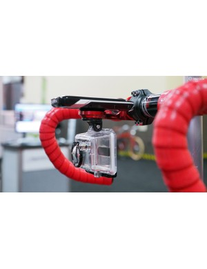 K-Edge now offers combo mounts, which feature a computer mount up top and a GoPro/Shimano mount down below. Depending on the computer used, the camera actually ends up completely hidden from the rider