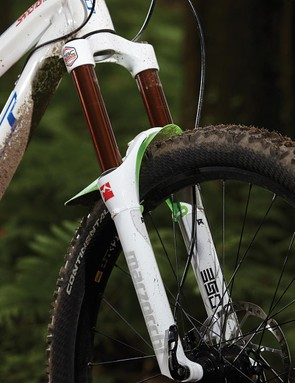 Marzocchi's 350 R fork doesn't quite match the support and sensitivity of the rear
