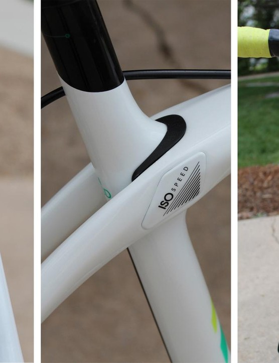 The Silque comes with a flexible IsoSpeed junction at the rear and a tall head tube up front