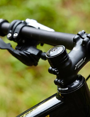 A shortish 60mm stem and 740mm bar drop hints as to this bike's big-hit intent