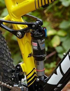 Out back, Vitus's four-bar V-Link setup and a RockShox Monarch are a good deal more confidence-inspiring
