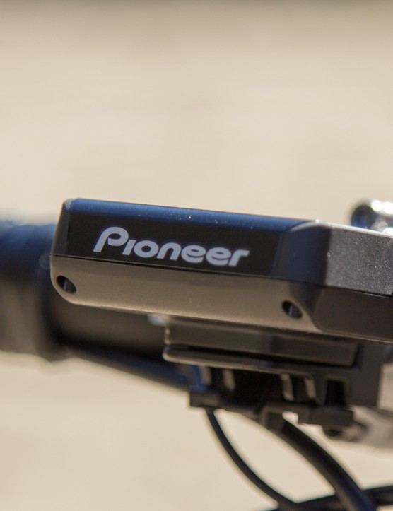 The Pioneer SGX-CA500 sits out in front of the handlebar and takes a design cue from SRM's PowerControl units