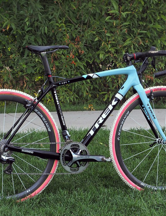 Katie Compton (Trek Factory Racing) is once again on Trek's smooth-riding Boone 9 carbon fiber racer for the 2014-15 cyclocross season. The 10-time US national champion has a custom painted stars-and-stripes version that's in the process of being built, too