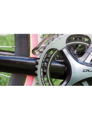 While Shimano Dura-Ace outer chainrings are normally forged (and sport a super-rigid hollow structure), these 'cross-specific outer chainrings are instead CNC-machined from flat plate - and they're nearly impossible to come by