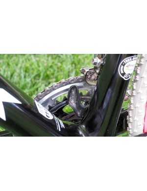 The built-in chain catcher is on hand in case of a thrown chain