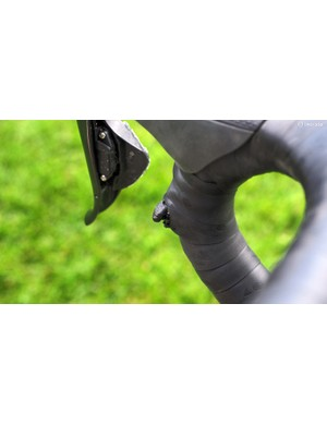 Katie Compton (Trek Factory Racing) spends more time in the drops than many cyclocross racers so Shimano's Di2 'sprint' shifters are especially useful