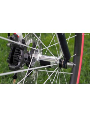 As Bontrager doesn't currently make a disc-compatible carbon tubular wheelset, these are custom built using hubs borrowed from an Affinity Pro wheelset