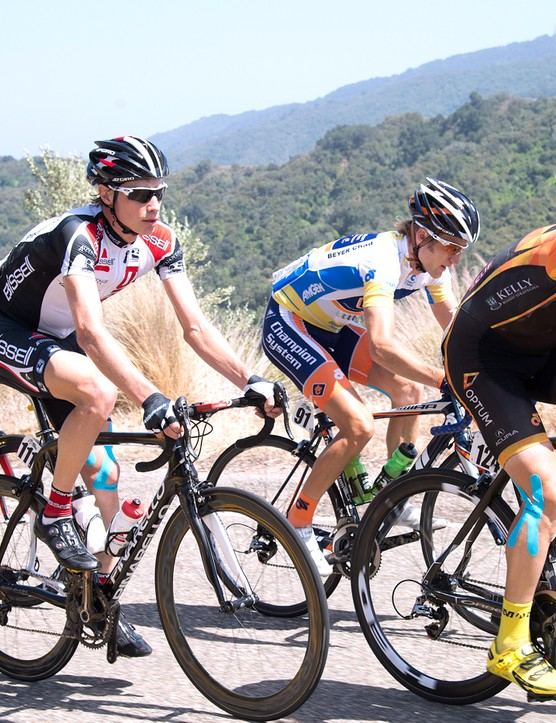 Chris Baldwin (pictured centre at the 2013 Tour of California) explains how to improve your descending