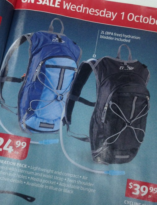 Like with the tool kit, we are pretty sure we have seen this same hydration pack with a different brand name, for three times the price