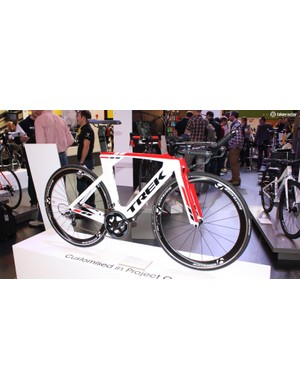 This Trek Speed Concept 9.8 uses SRAM Force gearing with Bontrager Aura 5 wheels