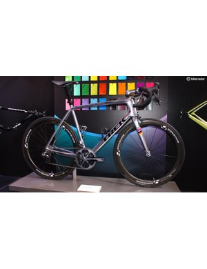 This is Jens Voigt's farewell Trek Madone. Decked out in custom Project One paint, it features the colours of his previous teams