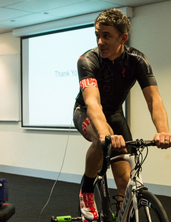 Stewart Morton, Australia's SBCU Body Geometry manager, put his body on the line by displaying the difference in blood flow between a well-fitting and a poorly-fitting saddle. Note the wire that runs from the display unit into his bibshorts...