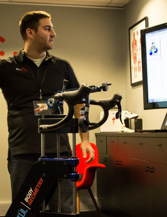 One of the saddle engineers from Specialized displays the saddle pressure mapping technology in real time
