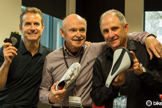 The experts behind Specialized's Body Geometry programme. From left to right, Dr Kyle Bickel, Andy Pruitt (Ed-D) and Dr Roger Minkow