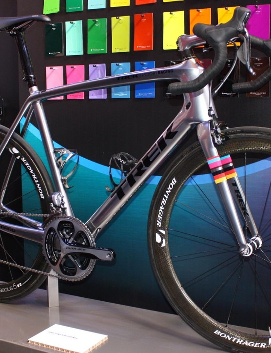 The Dura-Ace Di2 is complemented by Bontrager Aeolus 5 aero wheels