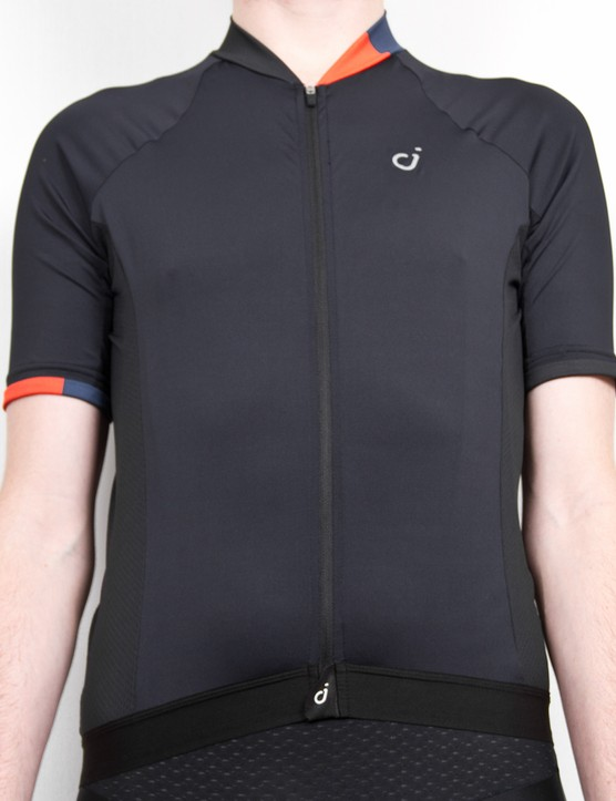 The Velocio look is minimal with just the small reflective 'V' logo visible on the front of the jersey