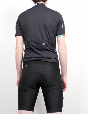 There are bright inserts on the sleeve and neck of the jersey while the bibs feature a 'Velocio' on the side leg