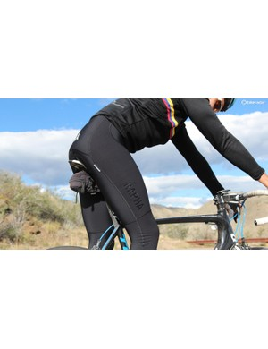 The Pro Team Padded Winter Tights are wind/water-resistant on the front and more breathable in the backs of the legs
