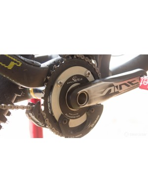Power meters are likely to become more popular within the downhill scene. Pictured is Gee Atherton's SRM from the 2014 season