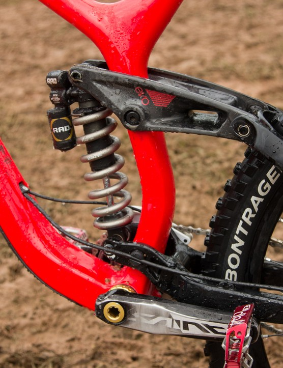 While an air-spring is common in the front fork, it seems that when it comes to rear shocks, there's still plenty of life left in the coil spring
