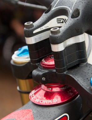 Adjustable geometry allows riders to tailor the bike's fit to specific courses. Pictured is the offset headset used by Greg Minnaar and Josh Bryceland