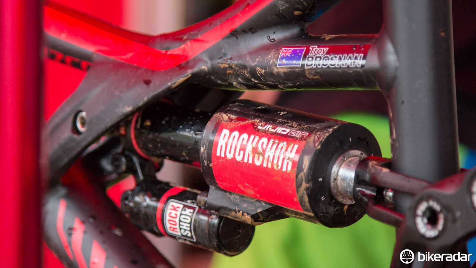 We've seen air-sprung rear shocks used in downhill before, but riders always choose coil springs for 'serious' courses