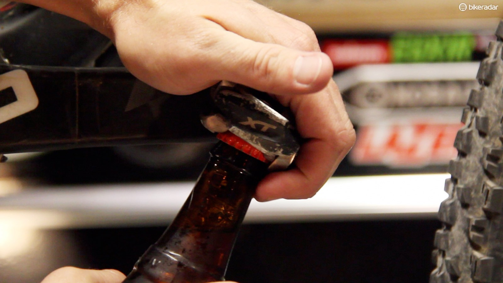 Shimano SPD pedals make excellent bottle openers