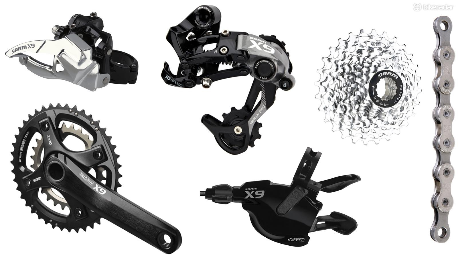Equivalent to Shimano SLX, X9 is the workhorse groupset of SRAM's range. Nearly all the performance features are present at this level, with slightly cheaper construction methods and materials keeping prices down, but the weight is higher