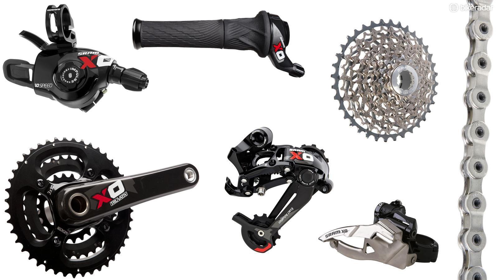 A long-standing popular choice in performance groupsets, SRAM X0 continues with its 2x10 gearing. It's often compared to Shimano XT, but X0's use of carbon fiber means it's lighter and more expensive