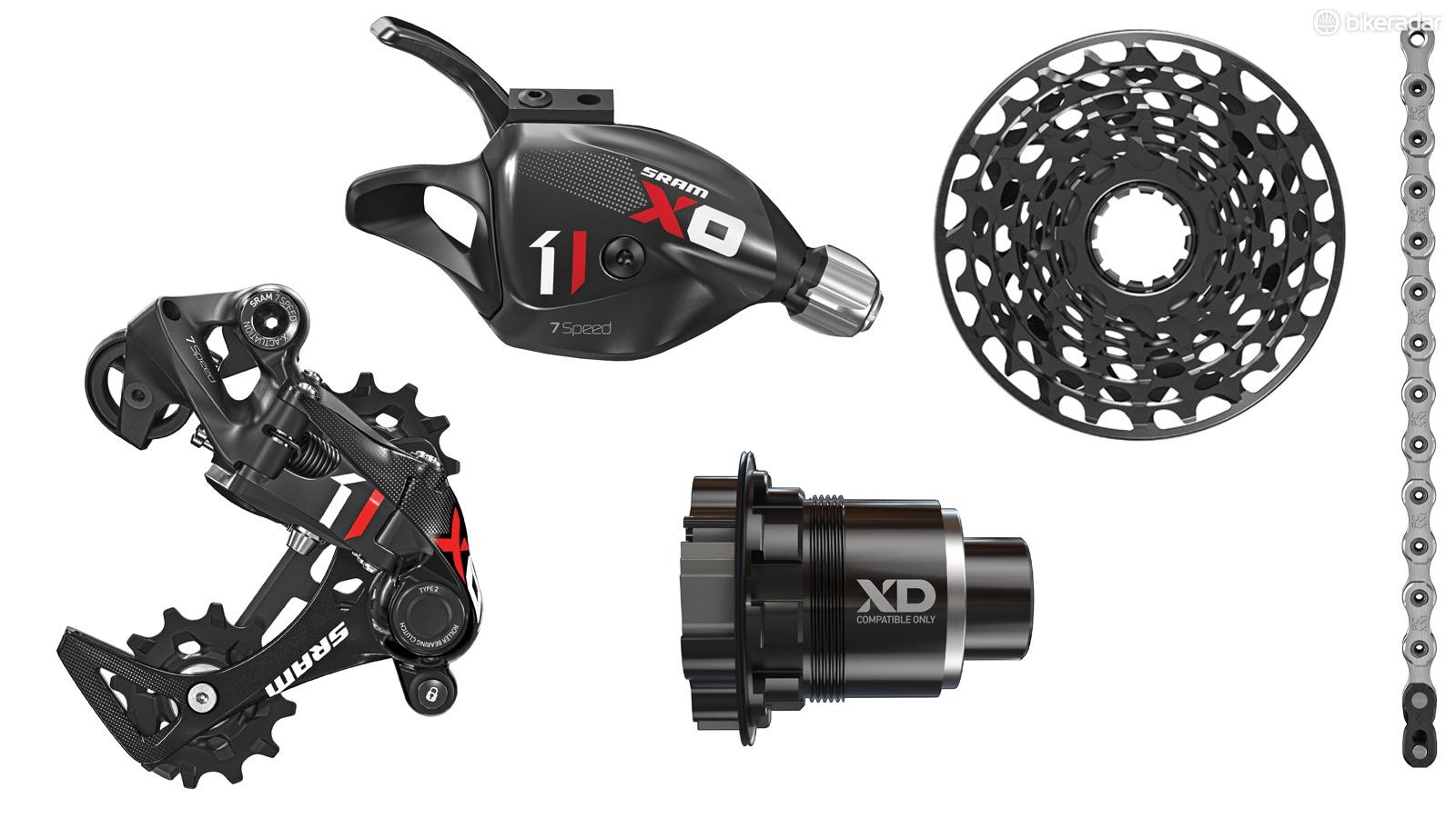 SRAM's latest discipline-specific groupset, X01-DH, uses many of SRAM's single-ring technologies but with a far smaller gear range for downhill racing
