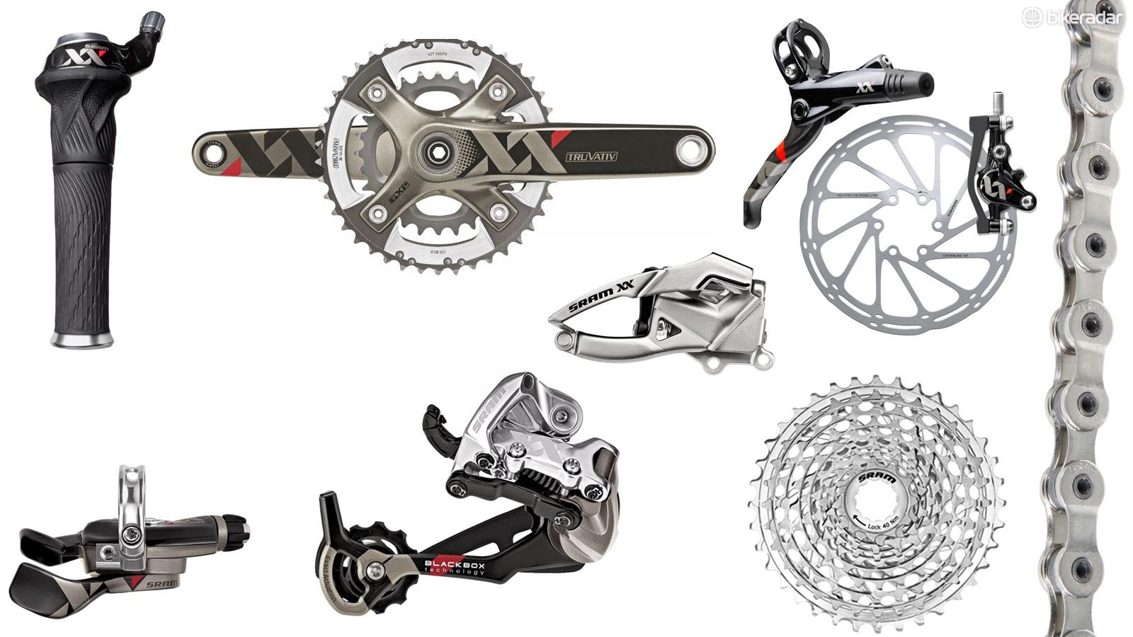 SRAM XX is a 2x10 cross-country-race-focused groupset. While still available, it has been surpassed by SRAM's 1x11 and 1x12 mountain groups