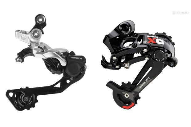 Both Shimano and SRAM offer clutch-style rear derailleurs, these greatly reduce chain-slap noise and the risk of dropped chains through rough terrain