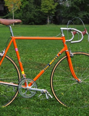 This 1990 Eddy Merckx Corsa is about as classic as it gets, equipped with a complete Campagnolo 50th-anniversary component group, shallow-profile Nisi tubular wheels, and cockpit components from Cinelli and Selle San Marco