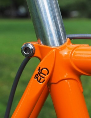 The seatpost is clamped in place with - naturally - a Campagnolo binder bolt
