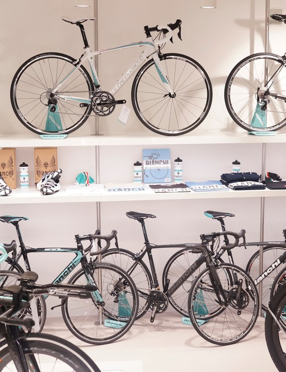 The bike shop side of the 570sq metre space features row upon row of Bianchi bikes