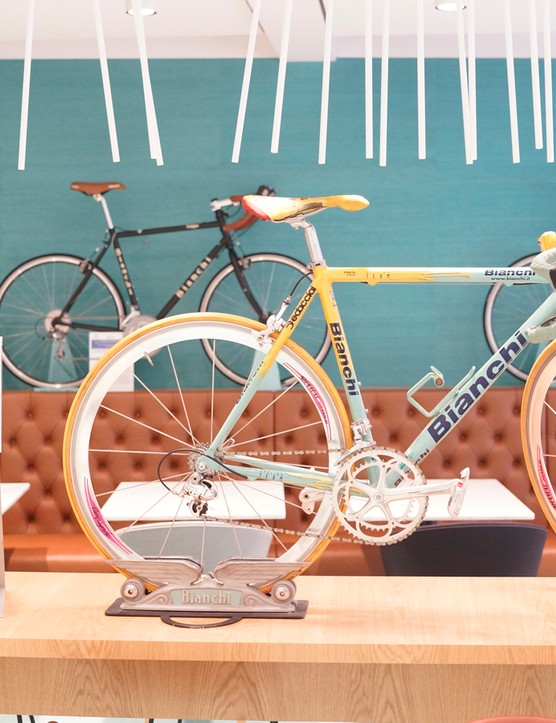 Bianchi machines are integrated into the decor throughout