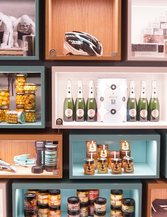 ...this one includes a mix of high-end groceries and Bianchi memorabilia