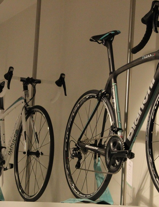 Bikes high and low at the Bianchi Cafe & Cycles store